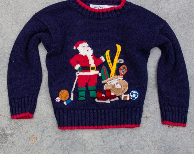 Vintage Kids Ugly Christmas Sweater 3T Santa Bag Of Toys Holiday Jumper 6CA