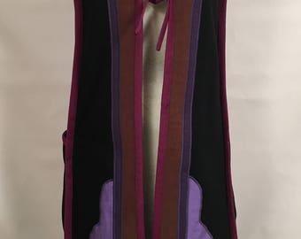 Vintage 70's Long Tunic Vest Black Cotton Boho Designer Artsy Danish Modern Hippie Small