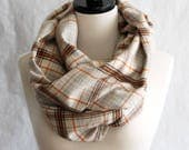 Pumpkin Spice Scarf - Beige, Brown and Orange Plaid Flannel Infinity Scarf - Flannel Scarf