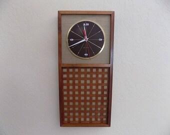 Seth Thomas walnut wall clock, mid century