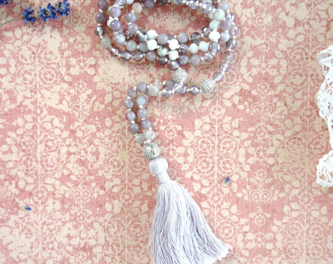 handknotted tassel necklace with amethyst, aquamarine and moon stone 6mm beads, 108 mala beads necklace, purple grey necklace