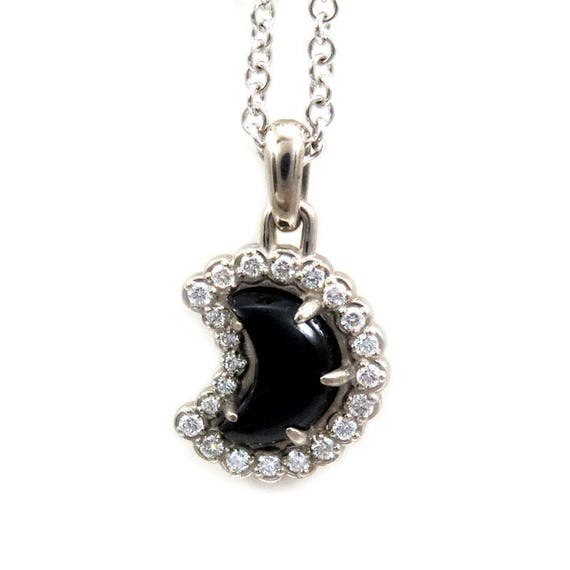 Onyx and Diamond Crescent Moon Pendant - 14k Palladium White Gold - Ready to Ship
