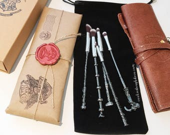 FREE SHIPPING - Harry Potter Hogwarts inspired wand Makeup Brushes Brush Set (Brush Roll & Option)