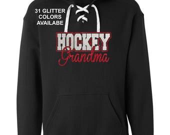 Glitter Hockey Grandma, Grammie, NANA or MIMI hoodie