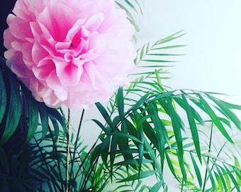 Tissue Paper Flower on Stem, Tissue Paper Pom Pom Flower, Pom Poms, Paper Flower, Simple Bridal Bouqet, Flower Girl Bouquet