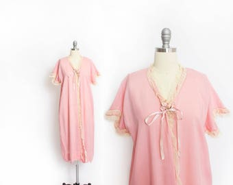 Vintage 1920s Robe - Light Pink Silk Lace Duster Jacket 20s - Small / Medium