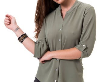 Green women blouse Khaki shirt 3/4 sleeve top Olive green shirt Button up green blouse