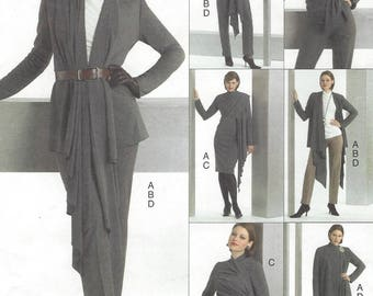 Womens Stretch Knit Wrap Jacket Top Dress and Pants Vogue Sewing Pattern V8305 Size 6 8 10 Bust 30 1/2 to 32 1/2 FF Vogue Easy Options