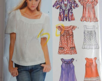 New Look 6705 Pattern Misses Spring Summer top sizes 8 - 18 Six versions; Easy Sew
