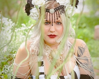Art Nouveau Black and White Rose Headdress