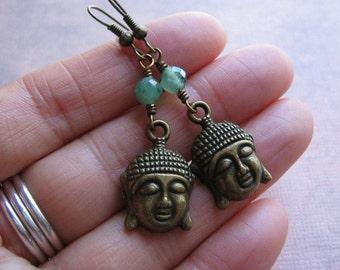 Buddha Earrings - Antique Bronze Buddha Jade Gemstone Earrings - Yoga Jewelry