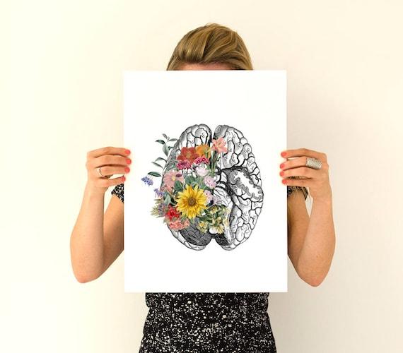 Christmas Sale Springtime brain, Colorful flowers Brain Poster, anatomical art, Brain art, flower art, Human poster doctor SKA140WA3