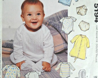 McCall's 5194, Infants Bunting, Gown, Bodysuits, Jumpsuit, T-Shirts, Pants, and Diaper Cover Pattern, All Sizes, Factory Folded Uncut, 1991