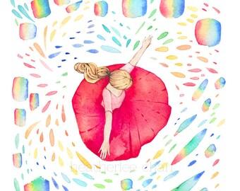 Dancing in Rainbows Watercolor -  Art Painting Print