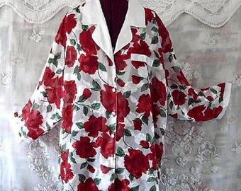 Rose Printed Chiffon Shirt Duster