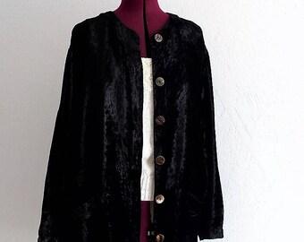 Black Silk Velvet Plus Size Shirt. #KheGreen