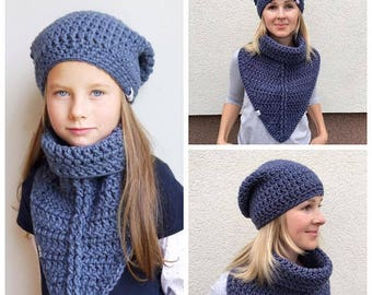 Crochet Pattern hat / Crochet pattern scarf / Crochet pattern cowl  / Crochet pattern beanie / Crochet Patterns Matching Mom and Daughter