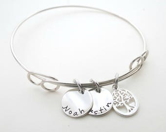 Personalized Bracelet - Family Tree Charm - Custom Bangle - Mothers Bracelet - Childs Names - Personalized Jewelry - Engraved - Grandma