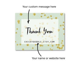 """Thank You Stickers - Mint and Gold Stickers - Wedding Stickers - Custom Product Labels, 2"""" x 1.5"""" Set of 18"""