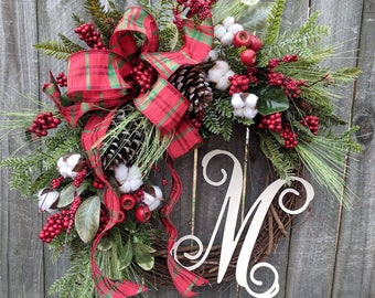 Christmas Wreath, Holiday Decor, Rustic Elegance, Berries and Pine,Wreath with Letter, Initial, Monogram, Wreath, Christmas Decor