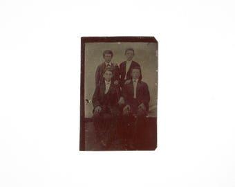 Vintage Tintype Photo of Group of Boys / Civil War Era Tintype Photograph