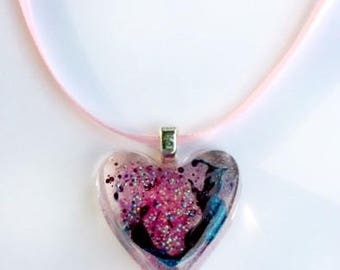 """Heart Resin Pendant """"Crazy and things"""""""