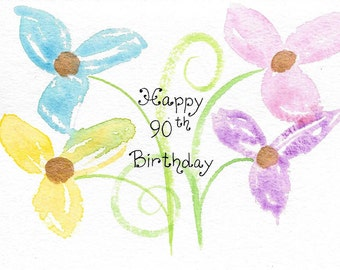 90th Birthday Card PERSONALIZED for FREE With a Name, Birthday for Mom, Mum Grandma Nana Noni Sister Aunt Best Friend Hand-Painted -Lettered