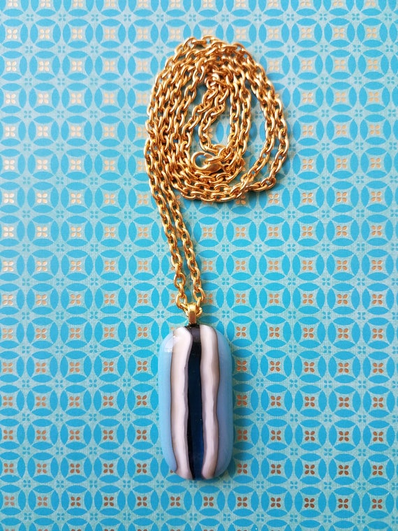 Blue Striped Glass Pendant with Chain