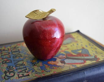 Vintage Red Marble Apple w/Brass Stem & Leaf - Mid Century, Modern, Contemporary