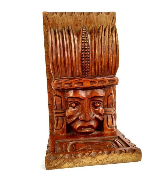 Vintage 1970's Wooden Mayan Head Book End Made in Honduras