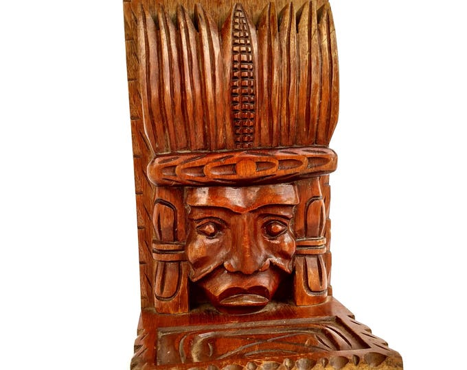 Vintage 1970's Wooden Mayan Head Book End Made in Honduras