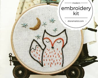 embroidery kit // foxy night - fox embroidery kit