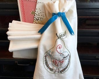 hand embroidery kit | embroidery kit | holiday embroidery kit | DIY embroidery | partridge pear hand embroidered tea towel kit