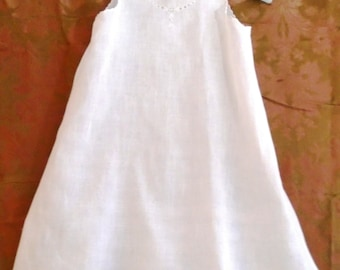 Vintage 1910s Long White Slip Baby Dress Christening Gown Slip with Embroidery