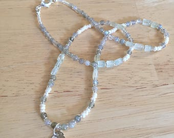 Labradorite, Aquamarine Gemstones, Freshwater Pearls, Silver Pendant, Beaded Necklace, Statement Necklace