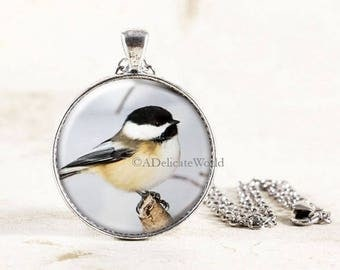Chickadee Necklace Silver, Chickadee Bird Jewelry Pendant, Silver Chickadee Jewelry, Winter Bird Necklace, Silver Bird Jewelry