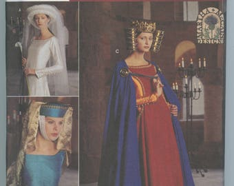 Simplicity 8728 Medieval Costume Pattern Cape, Headpiece, Crown, Veil, Cloak One Size UNCUT