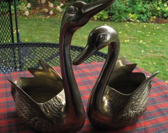Brass Swan Planters, Pair of Swans, Brass Planters
