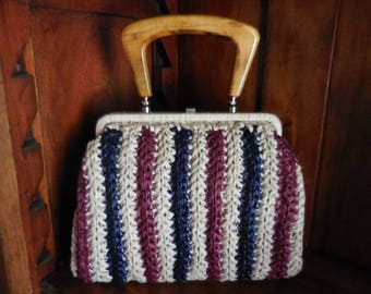 Vintage 50s/60s Straw Handbag Purse w/ Wooden Handle - Maroon/Red, White, Blue - Mid Century HandBag / Purse - by BABETTE - Made in Japan -
