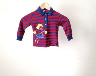vintage STRIPED long sleeve mid century EMBROIDERED polo shirt kids girls size 4 listed cheerleader t shirt top