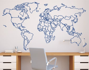 World map decal etsy world map with countries borders outline wall decal gumiabroncs Images