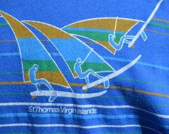 Vintage 1980s Wind Surfing Caribbean St. Thomas Virgin Islands Shirt!!! Soft Thin Tee!!!