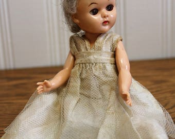 "Vintage 8"" Doll ~ 1950 Doll ~ Sleepy Eyes Doll ~ Halloween Prop"