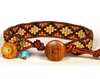Bead Loom Leather Wrap Bracelet Rusty Orange Turquoise Brown Seed Bead Bracelet Boho Bracelet Bohemian Jewelry