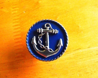 Anchor Drawer Knob or Pull, Silver with Blue Enameling Home Decor Handmade
