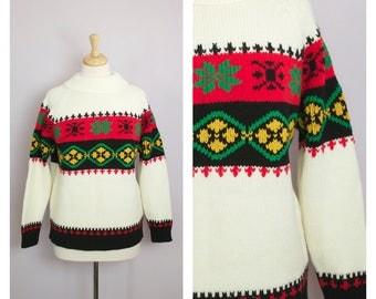 Vintage 1970's Cream + Red + Black Nordic Stripe Sweater M