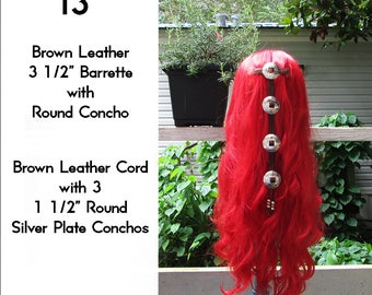 Brown Leather Cascading Silver Concho Hair Barrette 13""