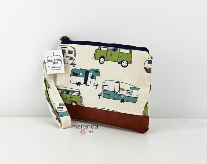 Flat Clutch Large Vintage Campers Green PU Leather READY to SHIp
