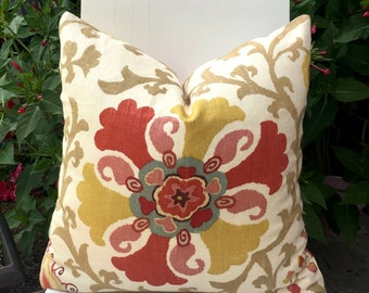 Suzani Medallion Floral Designer Pillow Braemore Home Accents Red, Orange, Yellow, Blue. Purple Throw Pillow Cover