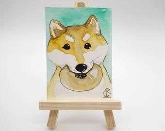 Shiba Inu with anpan - tiny original painting, watercolor painting, mini painting, dog painting, kawaii Shiba Inu art, ACEO, ATC, OOAK